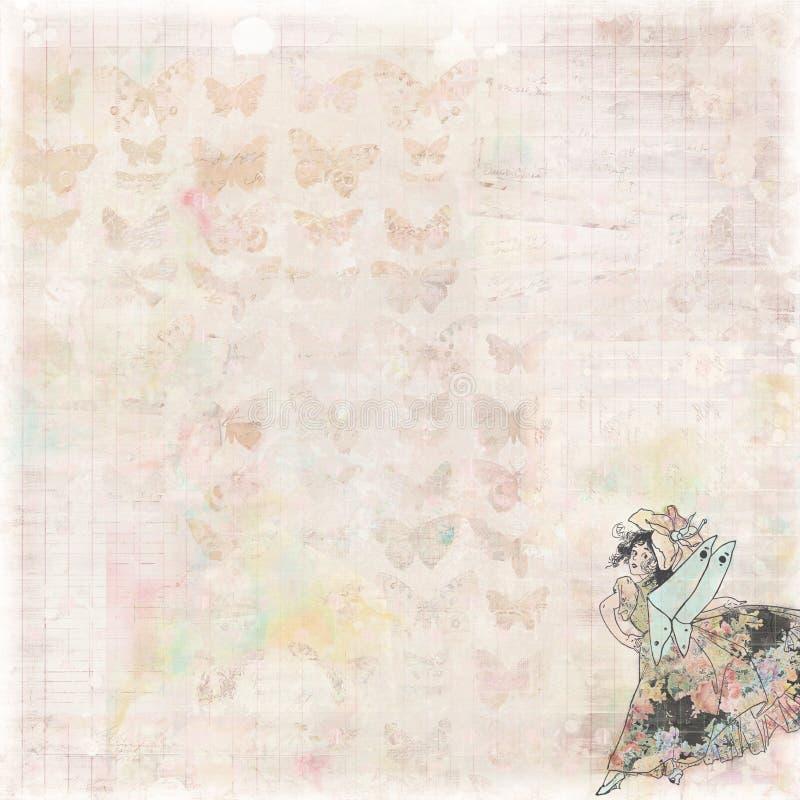 花卉古色古香的与花神仙和蝴蝶的葡萄酒脏的破旧的别致的艺术性的抽象图解帐簿纸背景 库存图片