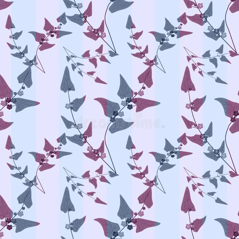 花卉叶子摘要无缝的样式纹理背景 库存例证