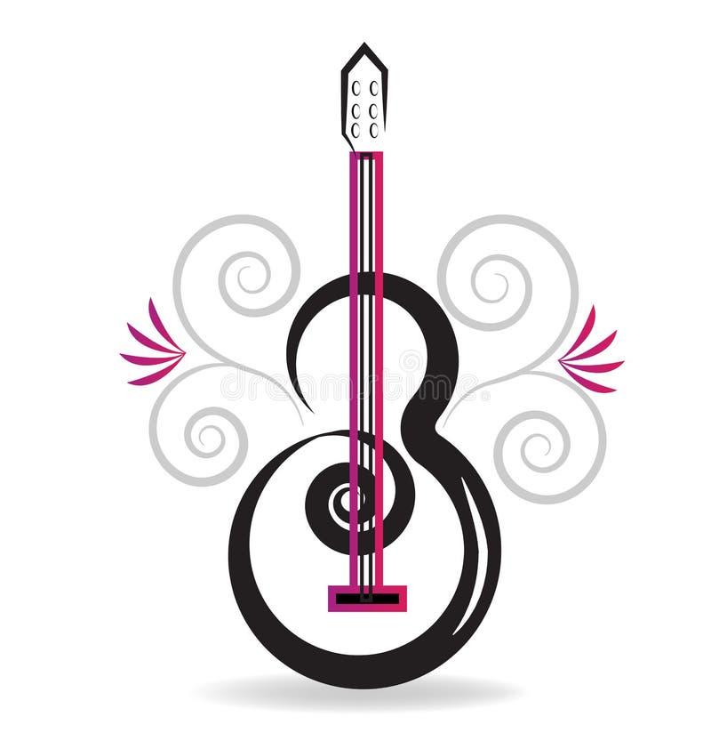 花卉吉他音乐概念 向量例证