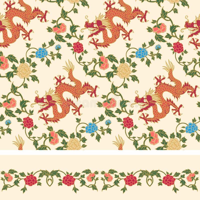 花卉和龙无缝的样式 皇族释放例证