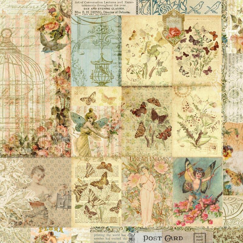 花卉和蝴蝶印刷品葡萄酒拼贴画  库存照片