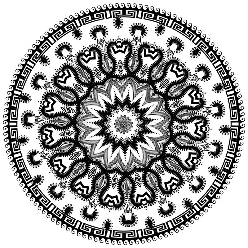 花卉回合希腊样式 传染媒介在白色背景的被隔绝的黑河曲装饰品 与希腊关键波浪的种族坛场 库存例证