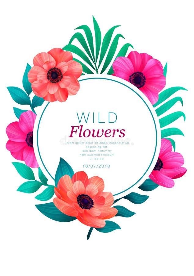 花卉圈子框架 热带花时髦模板 设计与美丽的花和棕榈叶与拷贝空间  库存例证