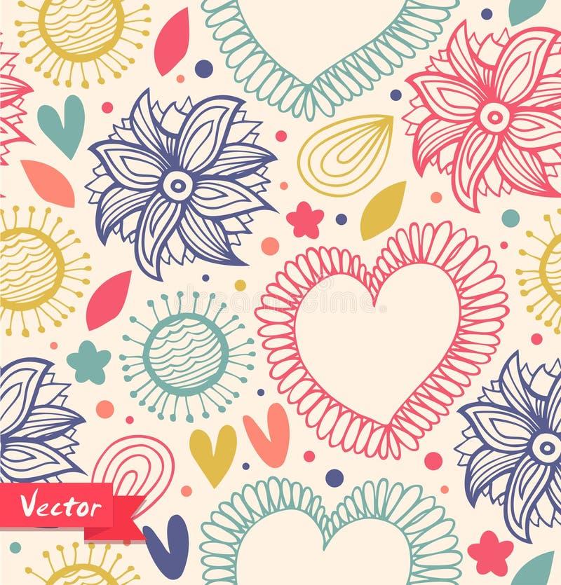 花卉在轻的背景的秀丽无缝的样式 与心脏和花的逗人喜爱的背景 织品装饰葡萄酒纹理 库存例证
