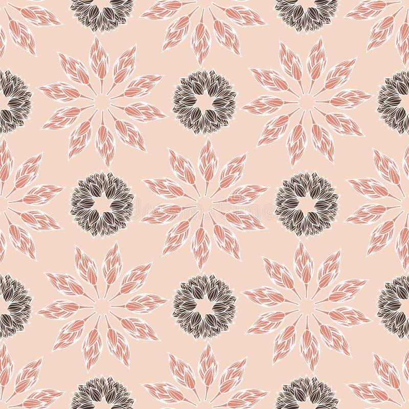 花卉坛场在一个现代和典雅的佩兹利样式设计 无缝的传染媒介重复样式 向量例证