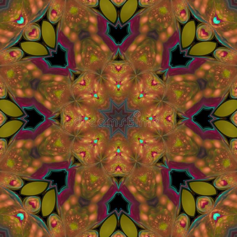 花卉坛场独特的样式多彩多姿的对称当代欢乐纹理,模板 皇族释放例证