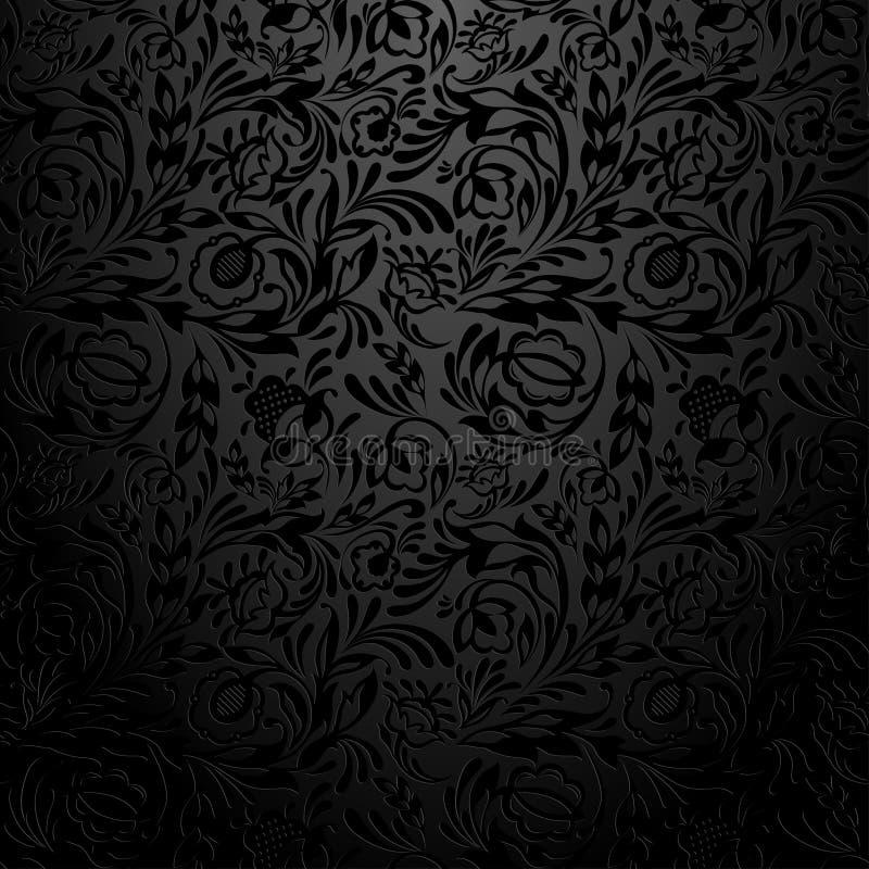 黑花卉墙纸样式 向量例证