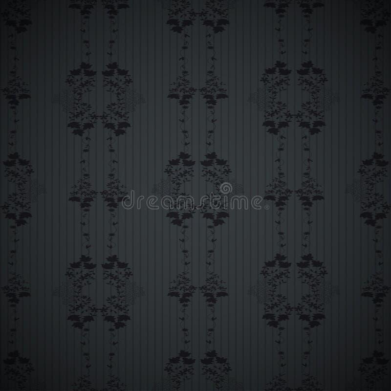 黑花卉墙纸样式 皇族释放例证