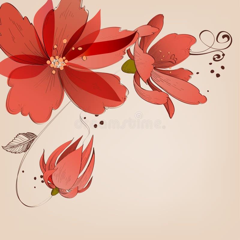 花卉壁角装饰 库存例证