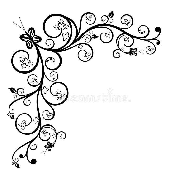 花卉壁角设计要素 向量例证