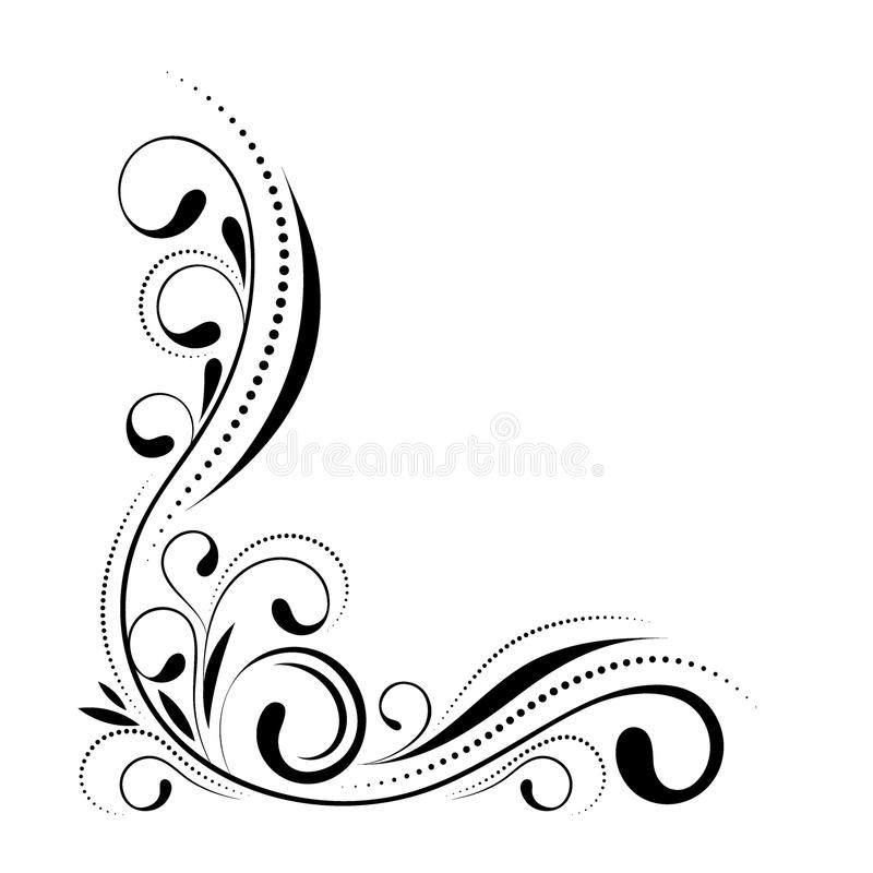 花卉壁角设计 在白色背景隔绝的漩涡装饰品-导航例证 与曲线的装饰边界 库存例证