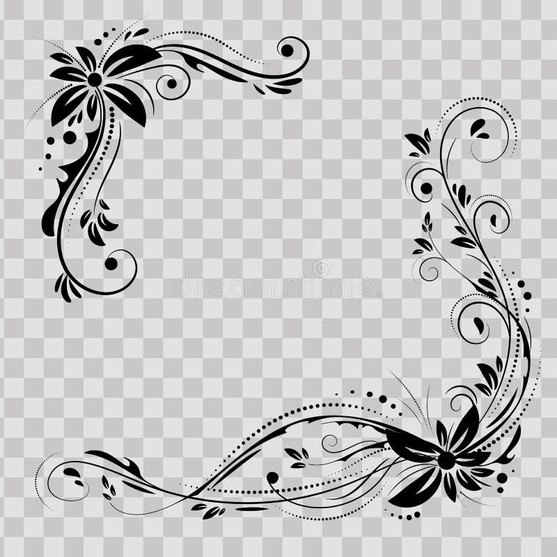 花卉壁角设计 装饰在透明背景的黑花-导航股票 与用花装饰的装饰边界 皇族释放例证