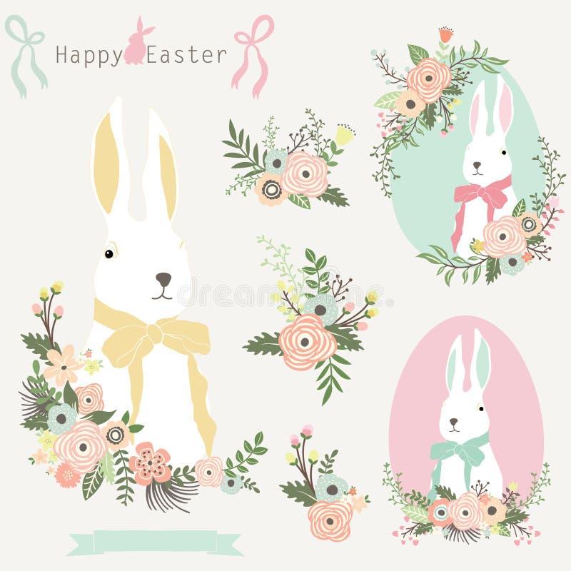 花卉复活节兔子 向量例证
