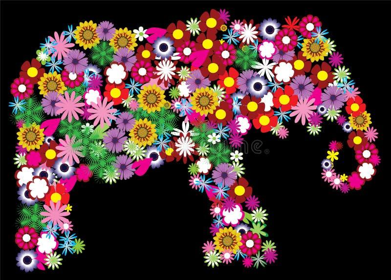 花卉大象 向量例证