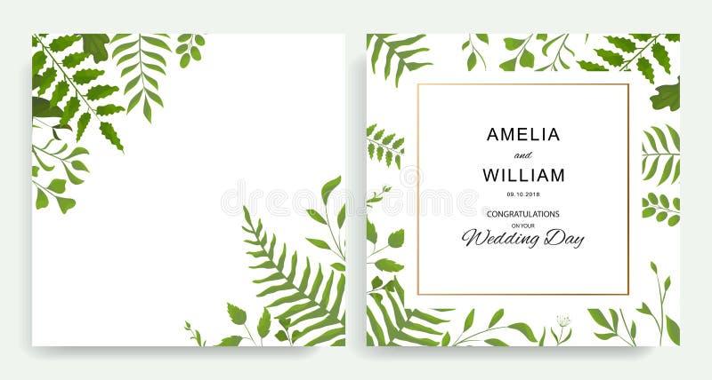 花卉婚礼邀请与传染媒介水彩样式传送的叶子的卡片设计 皇族释放例证