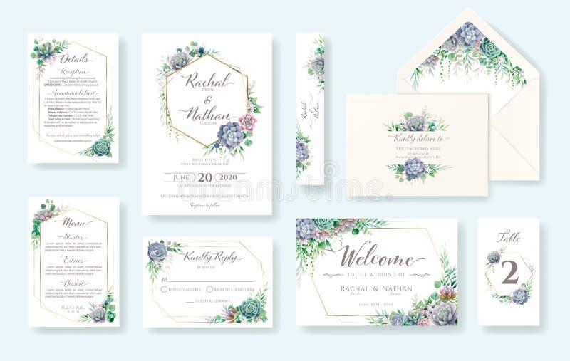 花卉婚礼邀请卡、邀请、RSVP、详细信息、谢谢、表号、菜单、信封地址模板 多肉 库存例证