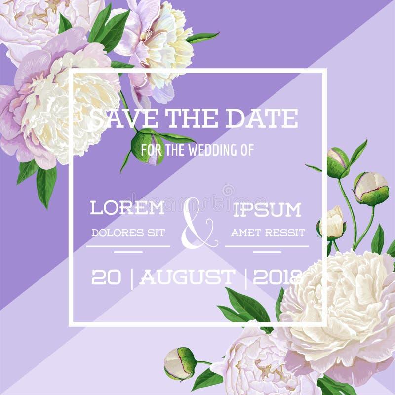 花卉婚礼邀请模板 保存与开花的白色牡丹花的日期卡片 植物葡萄酒的春天 皇族释放例证