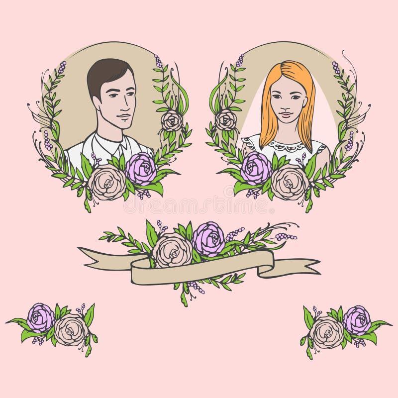 花卉婚礼邀请,保存日期 花与月桂树的葡萄酒卡片 结婚的新娘和新郎 皇族释放例证
