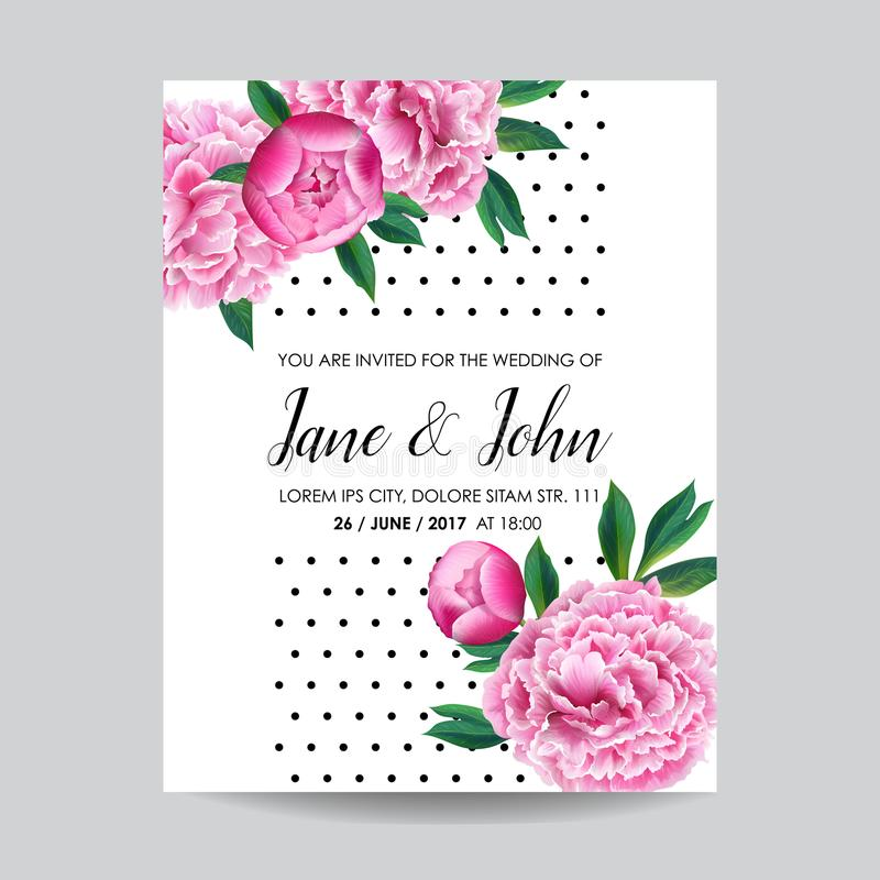 花卉婚礼邀请 保存与开花的桃红色牡丹花的日期卡片 葡萄酒春天植物的设计 库存例证