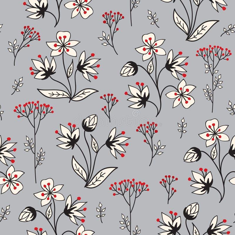 花卉寒假瓦片样式 叶子、莓果和花 皇族释放例证