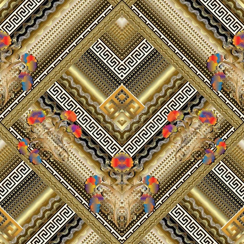 花卉希腊钥匙铺磁砖了无缝的样式 传染媒介镶边3d backg 皇族释放例证