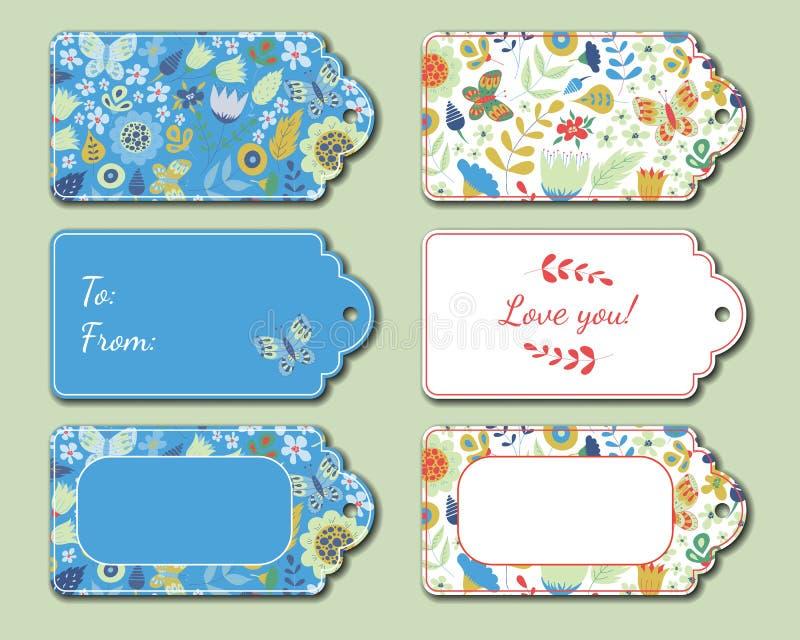 花卉当前标记 节日礼物卡片 皇族释放例证