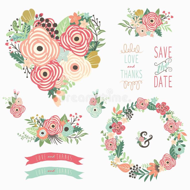 花卉心脏锐利元素 向量例证