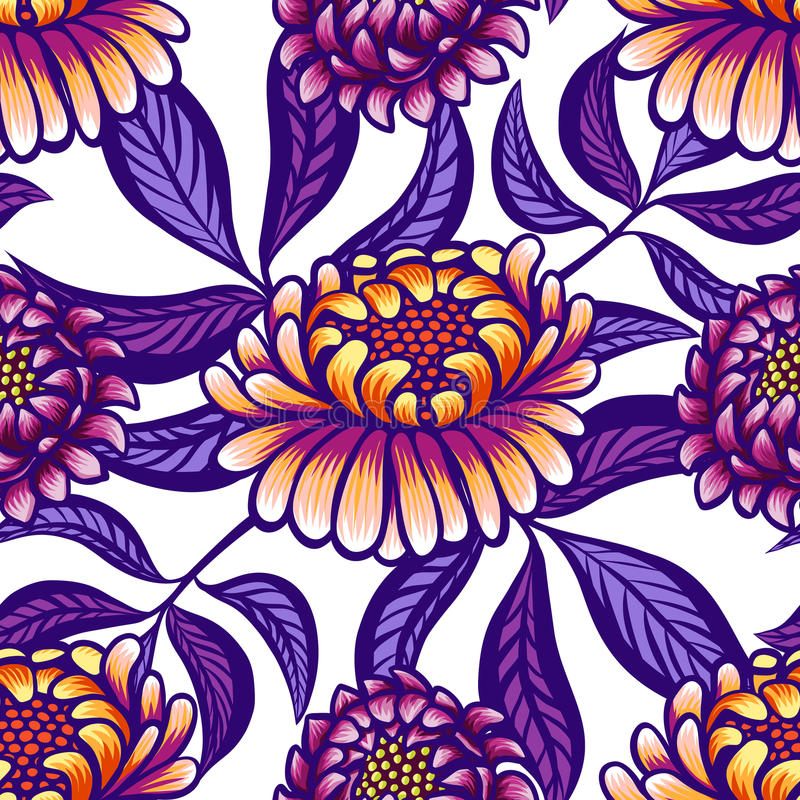 花卉手拉的与花和叶子的葡萄酒无缝的样式 美妙的橙色紫色花和丁香叶子在a 库存例证