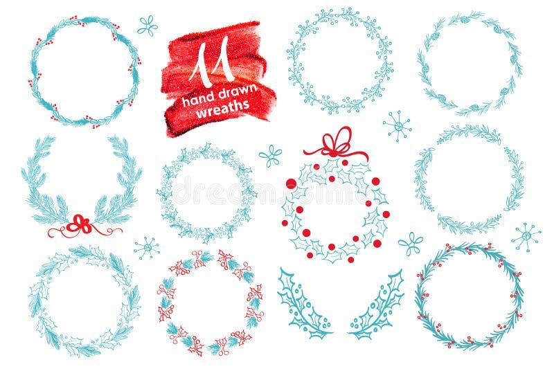 花卉手拉的圣诞节花圈设置与冬天 也corel凹道例证向量 季节贺卡 对您的文本,字法, calligrap 向量例证