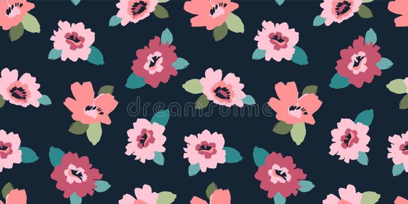 花卉抽象无缝的样式 不同的surfases的传染媒介设计 皇族释放例证