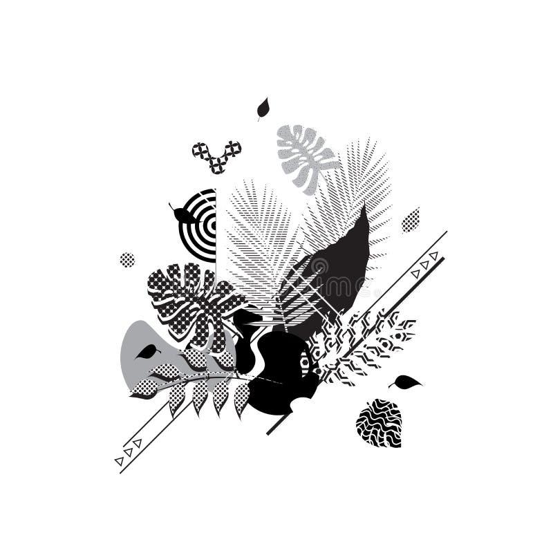 花卉抽象现代模板背景 几何元素 不同的样式 皇族释放例证