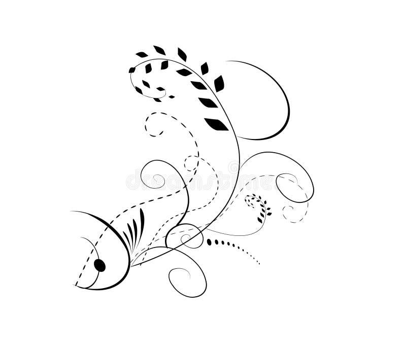 花卉抽象设计鱼 向量例证
