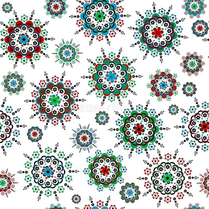 花卉无缝与圆的五颜六色的花 向量例证