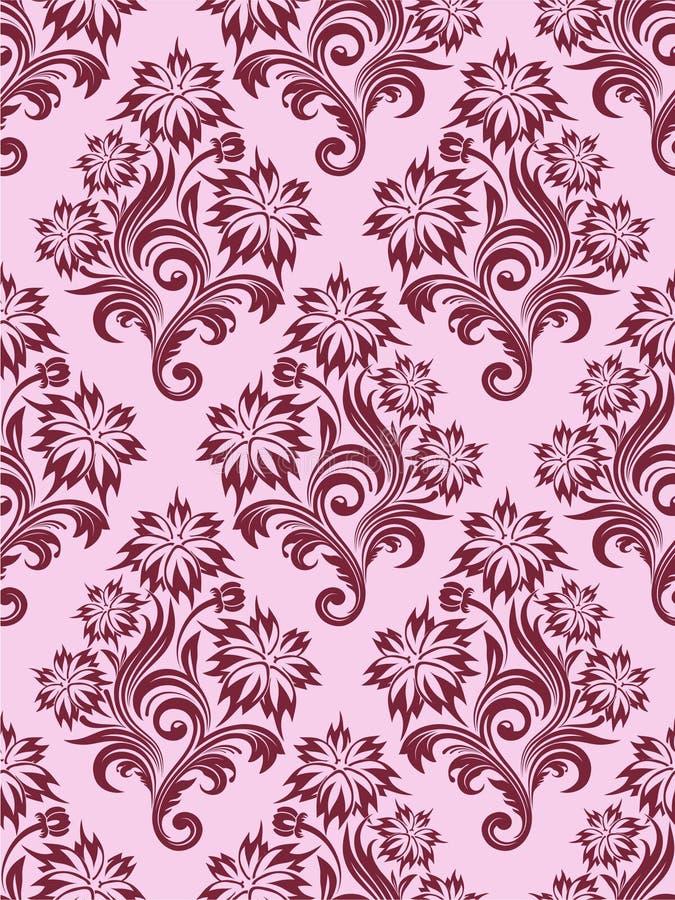 花卉无缝的向量墙纸 库存例证