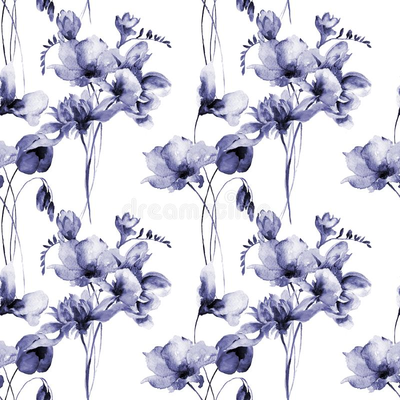 花卉无缝的墙纸 向量例证