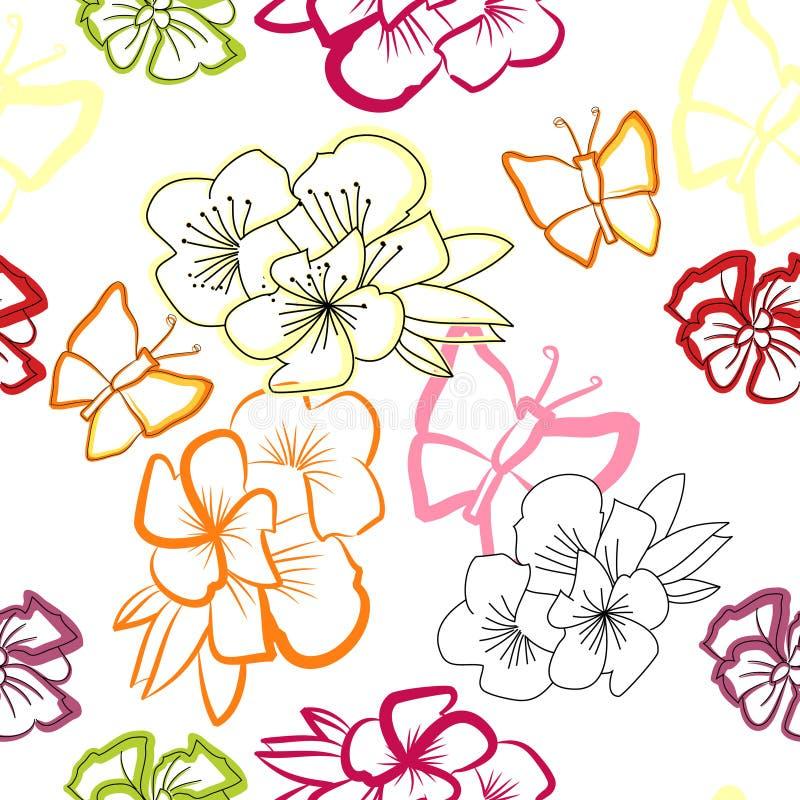 花卉无缝的墙纸 库存例证