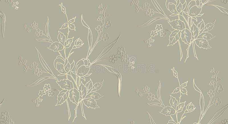 花卉无缝的样式可以为墙纸,织物印刷,卡片使用 玫瑰的传染媒介例证在轻的背景的 库存例证