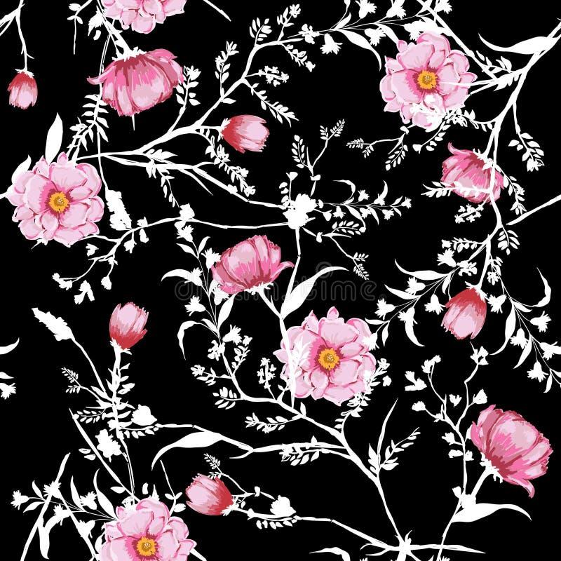 花卉无缝的样式开花的桃红色水彩开花植物 向量例证
