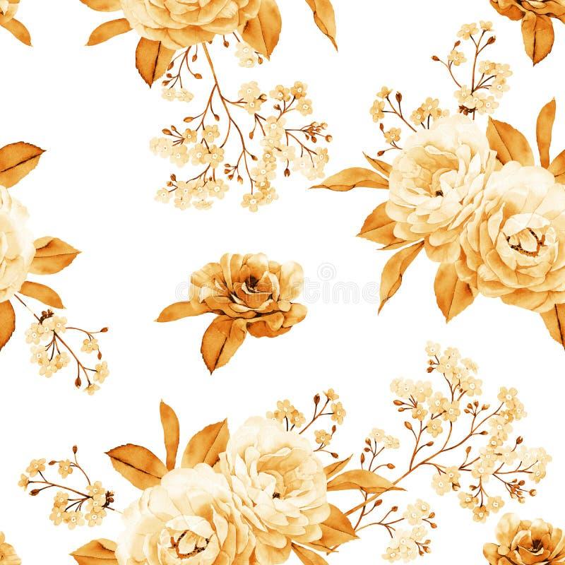 花卉无缝的样式由金黄玫瑰,在白色的分支做成 皇族释放例证