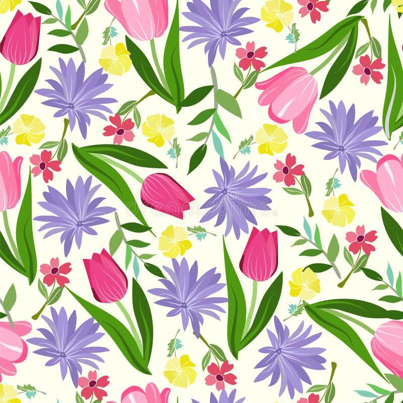 花卉无缝的样式纹理与与明亮的夏天开花 皇族释放例证