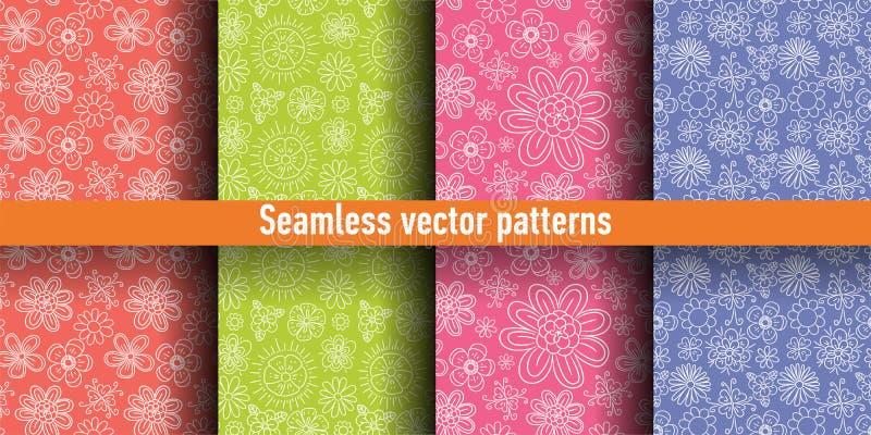 花卉无缝的样式集合 花墙纸 背景颜色模式无缝的雪花向量 夏天和春天印刷品 向量例证