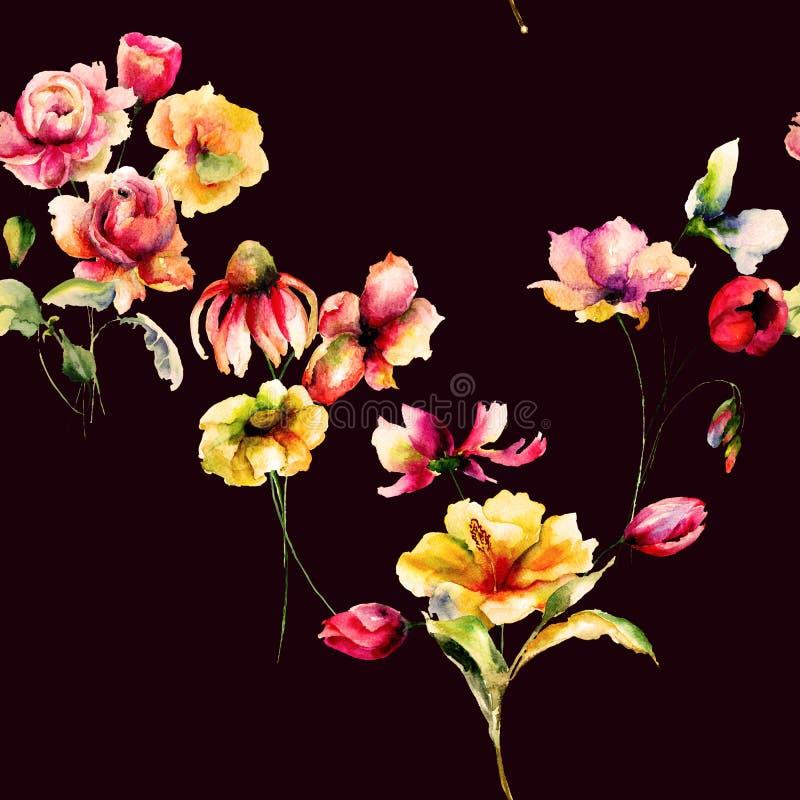 花卉无缝的样式,水彩例证 皇族释放例证