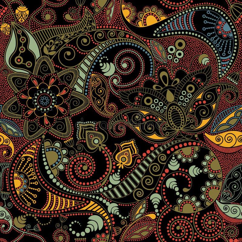 花卉无缝的样式,纹理作用 印地安五颜六色的装饰品 传染媒介装饰花和佩兹利 种族样式 库存例证