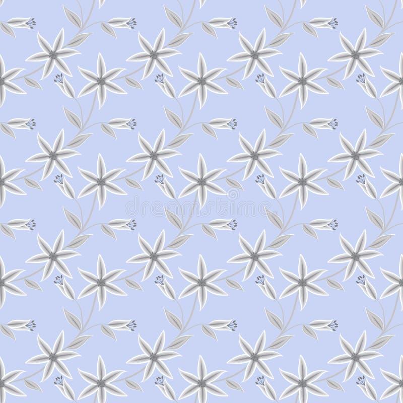 花卉无缝的样式,逗人喜爱的动画片开花浅兰的背景 库存例证