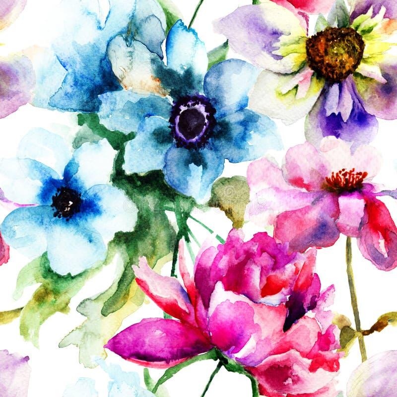 花卉无缝的样式 皇族释放例证