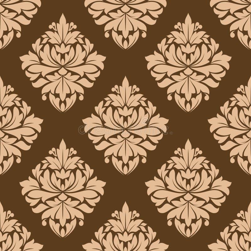 花卉无缝的棕色蔓藤花纹样式 向量例证
