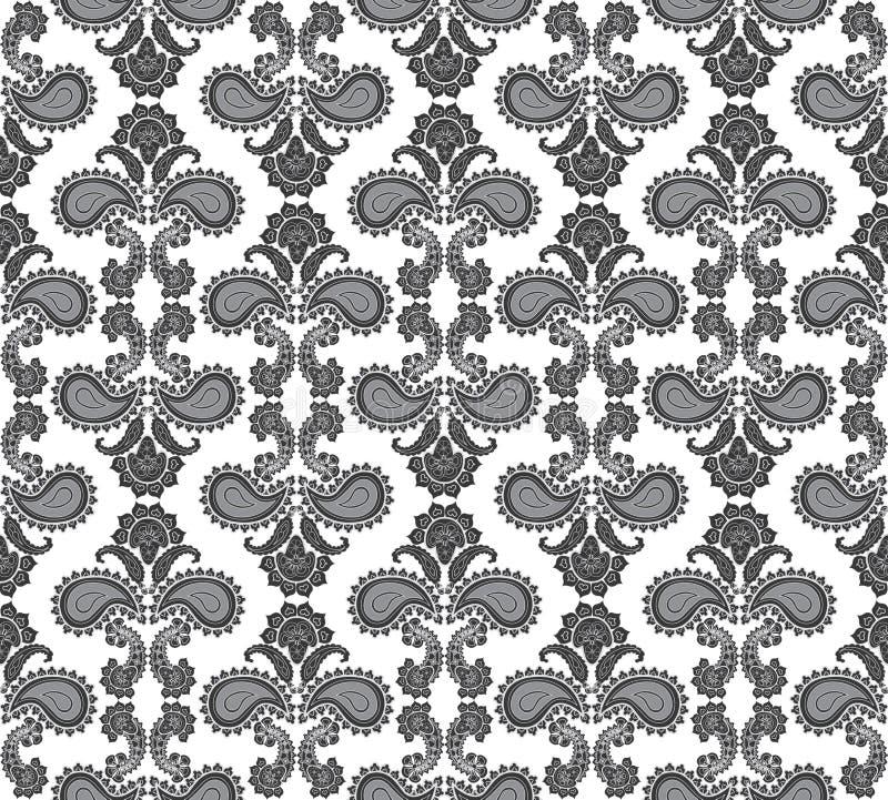花卉无缝的背景。抽象灰色和白色花卉几何无缝的纹理 皇族释放例证