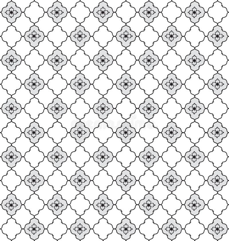 花卉无缝的背景。抽象灰色和白色花卉几何无缝的纹理 库存例证