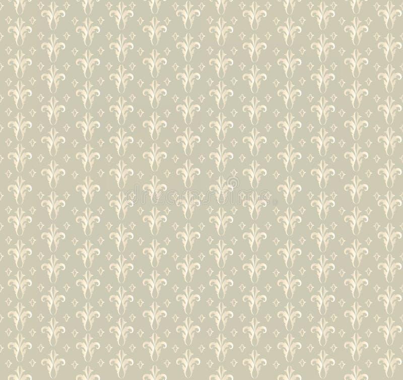 花卉无缝的背景。抽象米黄和白色花卉几何无缝的纹理 向量例证