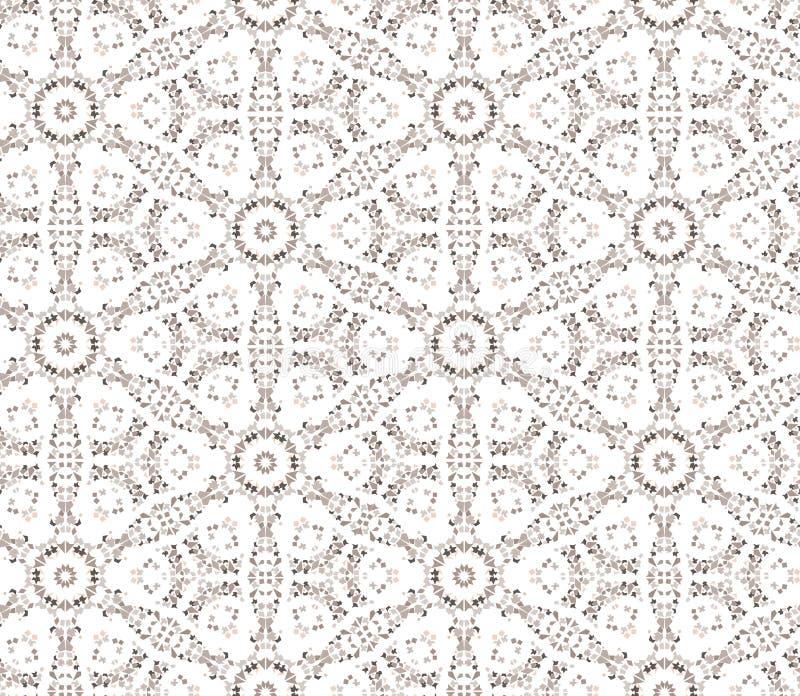 花卉无缝的背景。抽象米黄和白色花卉几何无缝的纹理 库存例证